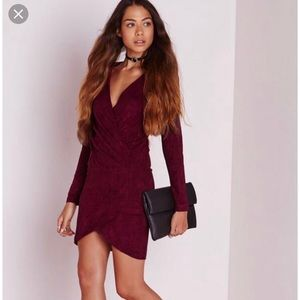 Missguided Faux Suede Wrap Dress